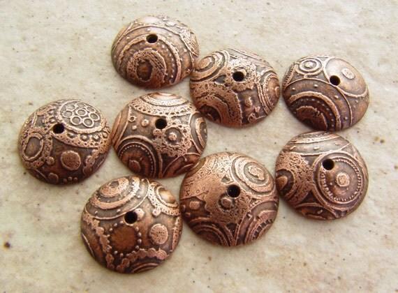 Etched Copper Bead Caps, Metal Circles, 11-12mm, 4 pair (8 caps)