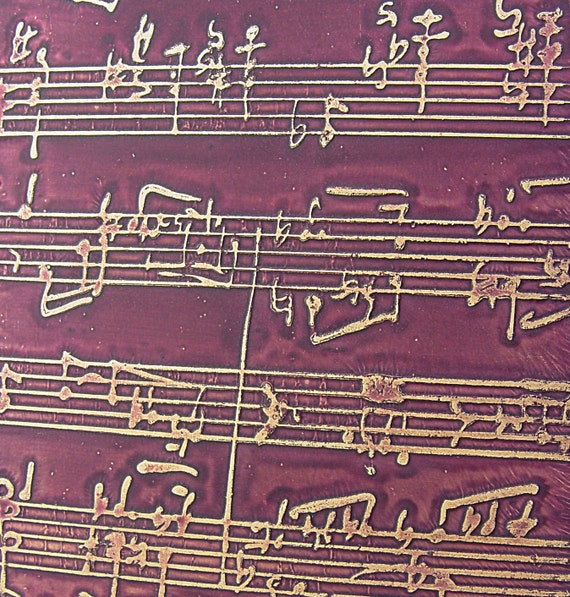 Etched Brass Sheet, Amethyst Matte Musical Note, 4x3 inches, 24g