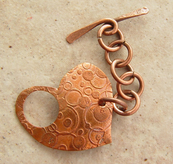 """Etched Copper Toggle Clasp, Bubbles and Circles Pattern, 1"""" x 1"""", Heart Shaped"""