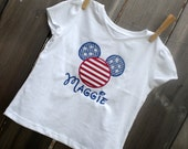 4th of July Mouse Head Embroidery Design Machine Applique