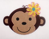Girl Monkey Embroidery Design Machine Applique