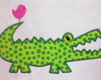 Alligator with Friend Embroidery Design Applique