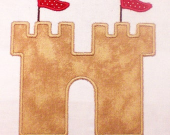 Summer Sand Castle Embroidery Design Applique