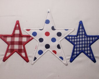 4th of July 3 star Monogram  Embroidery Design Applique