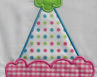 Birthday Party Hat Embroidery Design Machine Applique