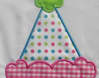 Birthday Party Hat Embroidery Design Machine Applique