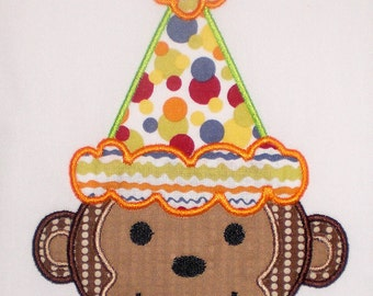 Birthday Monkey Embroidery Design Machine Applique