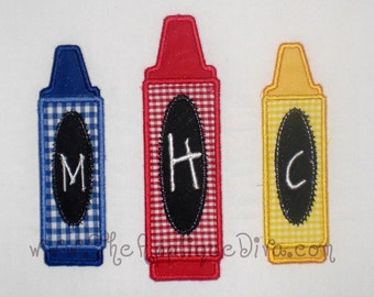 Back to School 3 Crayon Monogram Embroidery Design Machine Applique