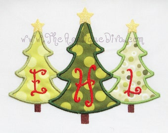 Three Christmas Trees Embroidery Design Machine Applique