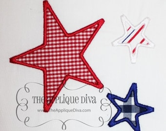 4th of July 3 Star Embroidery Design Applique