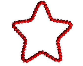 4th of July Star Hair Bow Center Embroidery Design Machine Applique