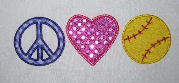 Peace Love Softball  Embroidery Design Applique