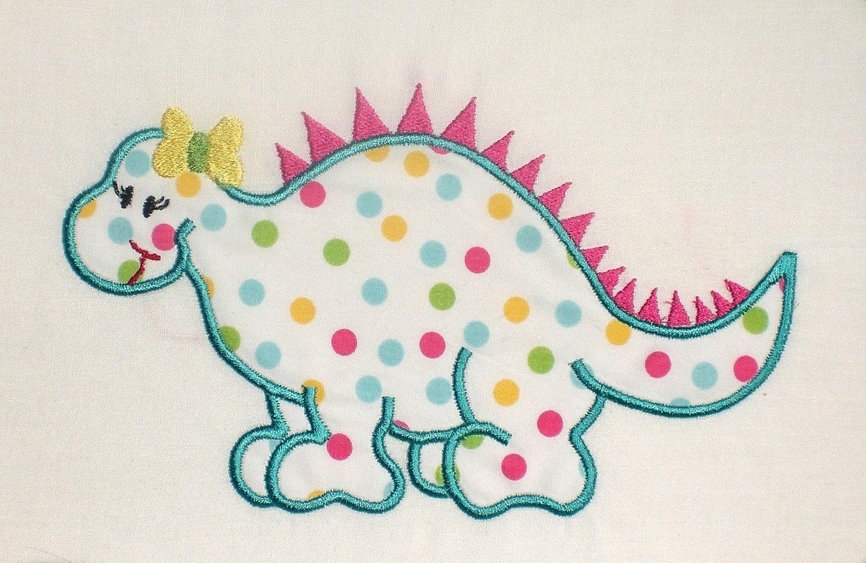 Dinosaur girl embroidery design machine applique