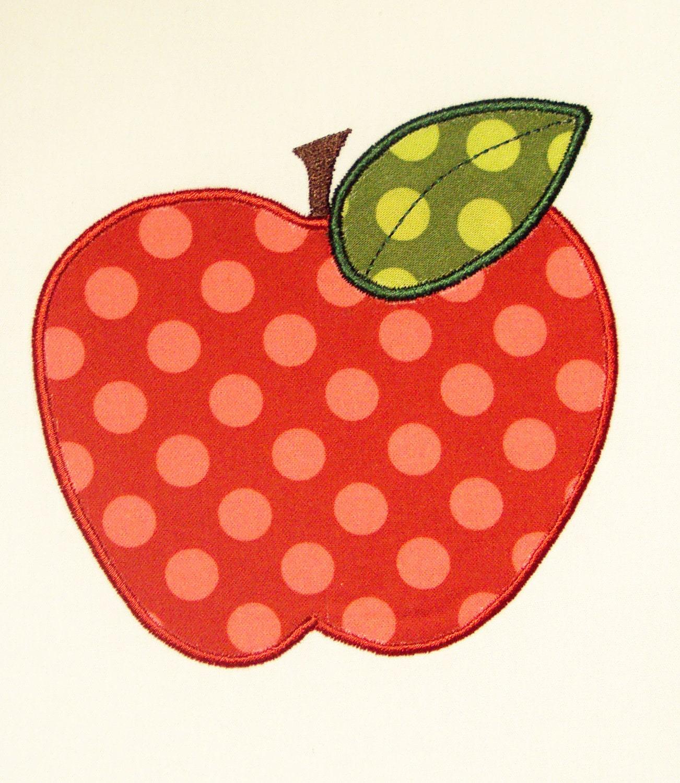 Back to school apple embroidery design machine applique for Appliques design