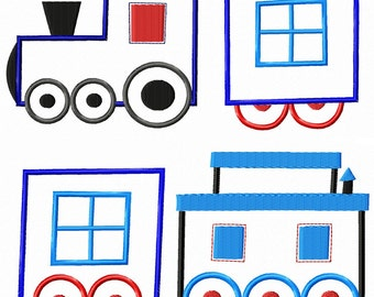 Train Engine Cars and Caboose Machine Embroidery Applique Patterns