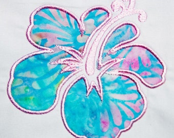 Hawaiian Hibiscus Flower Machine Embroidery Applique Pattern **Instant Download**