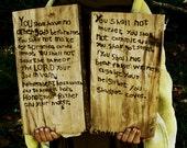 Ten Commandments - hand made woodburned rustic Biblical tablets