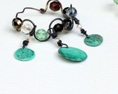 Gypsy Verdigris Coin Hoop Earrings Belly Dance Goddess sparkle beads twisted dangle Oxidized Copper Circles Bohemain Chic Wear in Plugs