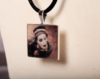 Old Time Circus Art Pendant Necklace. vintage looking wearable art Mini Photo Print, in sepia color