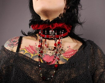 Sale. Gothic Collar Necklace. Wear this beaded ruffle necklace to Dracula's Palace. Gorgeous black and blood red lace and drippy beadwork