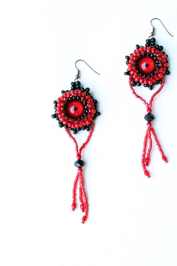 Beaded Eyeball Earrings Gothic red black Taxidermy Belly Dance pierced ears Dark  dangle chandelier OOAK
