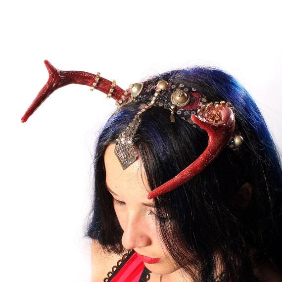 Tribal Antler Headband - deer horns head band Kuchi Belly Dance Headdress fantasy Summer Festivals Rhinestones