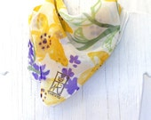 Hand Painted Silk Scarf. Lemon Yellow Wildflowers Scarf. Square Silk Scarf. Silk Chiffon Scarf. Gifts under 50. 21x21 in.