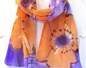 Hand Painted Silk Scarf. Golden Orange Poppies Purple Scarf. Spring Fashion. Floral. Pastel. Silk Chiffon Scarf. French Silk Dye 8x54 in.