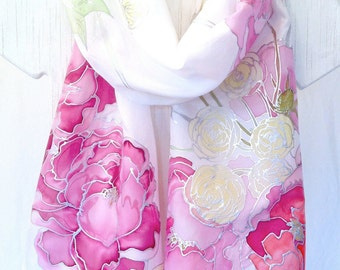 Hand Painted Silk Shawl, Pink Spring Bouquet, Wedding Silk Wrap Shawl, White Silk Shawl, Silk Scarves Takuyo,  22x72 inches. Made to Order.