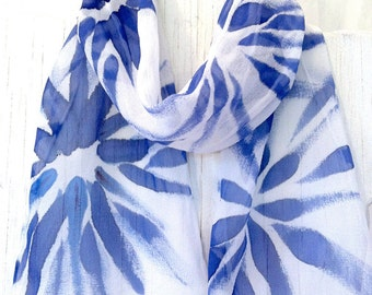 Small Silk Scarf Hand Painted, Gift for her, Silk Scarf Blue, Navy Blue Hanabi Flowers, Handmade in the USA, 8x54 inches. Made to order.