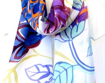 Hand painted silk scarf, Unique Womens Scarf, Multi Colored Silk Summer Scarf, Floral Japanese Scarf, Made in the USA, Made to order