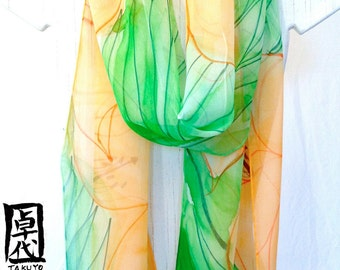 Silk Scarf Long, Hand Painted Orange and Green Silk Chiffon Scarf, Orange Lilies Floral Scarf, Silk Scarves Takuyo,  Approx 11x90 in.