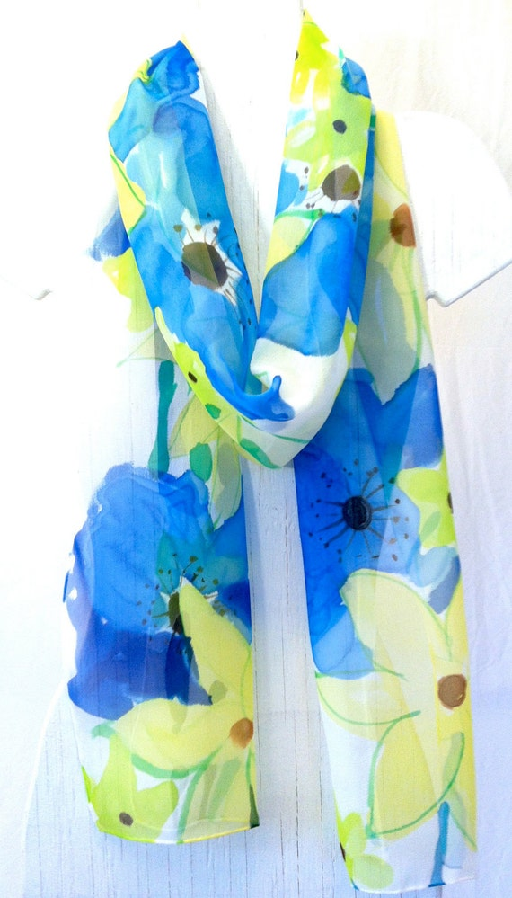 Hand painted silk scarf. Long. Blue Poppies Garden Party. Spring Fashion. Blue Silk Scarf. Silk Chiffon. Silk Scarves Takuyo. 11x90 in.