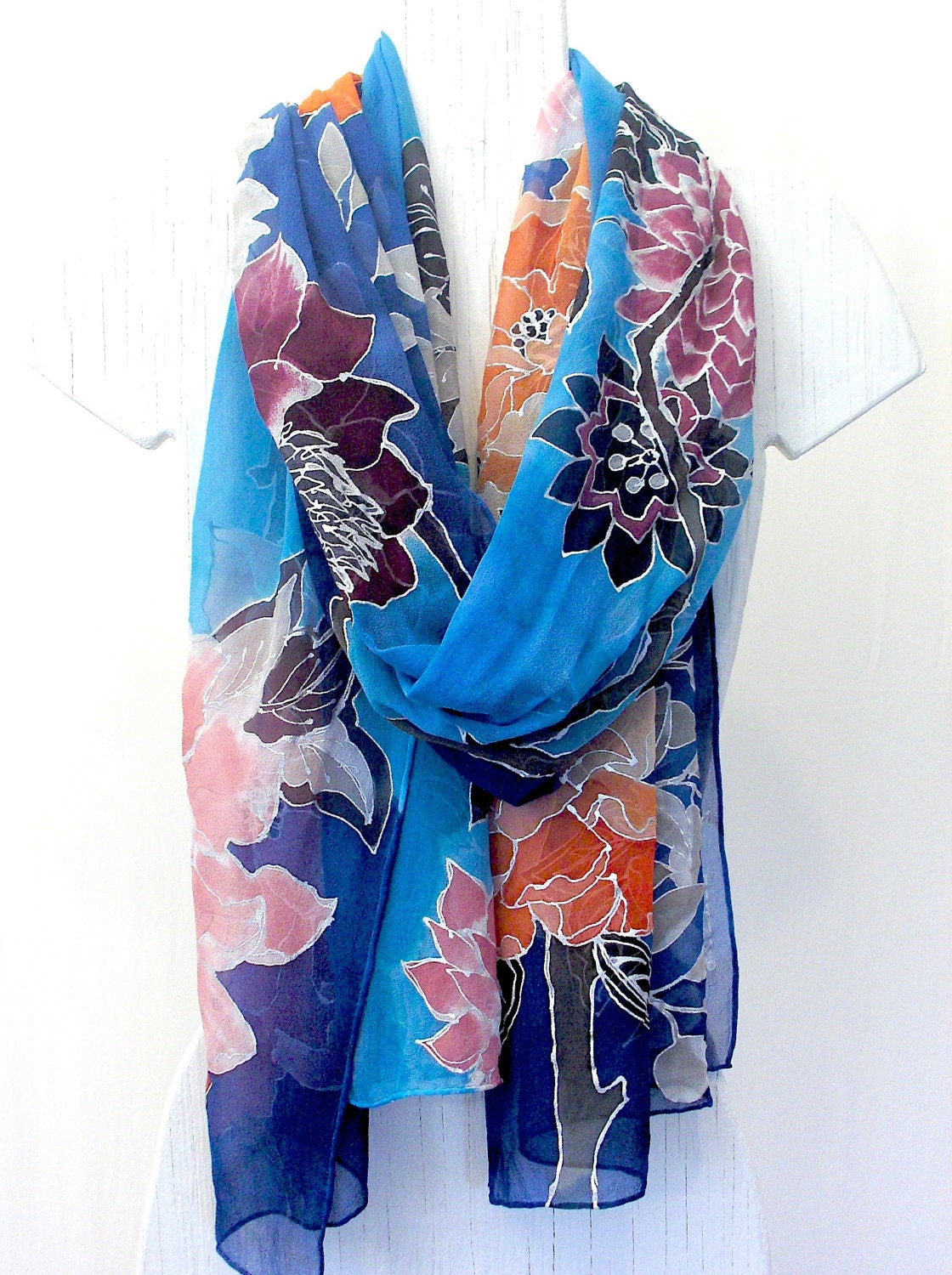 painted silk scarf floral silk scarves takuyo blue