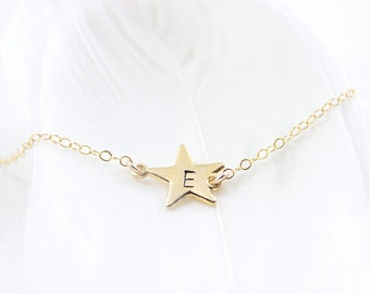 Personalized Star Initial Necklace - personalized tiny gold wish star