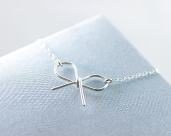 Bow Sterling Silver Necklace - simple minimalist tie the knot ribbon everyday jewelry by petitor