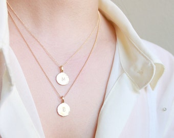 Personalized Multi Strand Initial Necklace - custom letter charms with layered 14k gold filled chain, petitor jewelry etsy