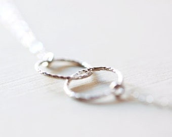 Entwined Circles Necklace - linked circles, minimalist sterling silver eternity jewelry for everyday