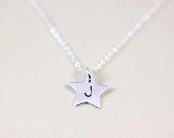 Initial Personalized Necklace - sterling silver custom wish star monogram jewelry by petitor