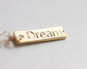 Dream Gold Bar Necklace - petite gold pendant engraved with dream, simple minimalist necklace