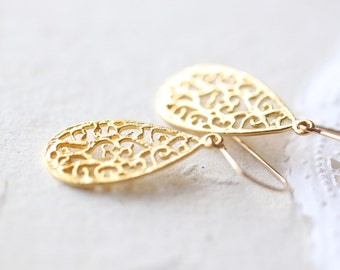 Small Gold Teardrop Earrings - simple vermeil tear drop filigree, golden flower petal jewelry