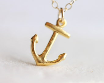 Anchor Necklace - nautical gold vintage inspired 14k gold filled jewelry