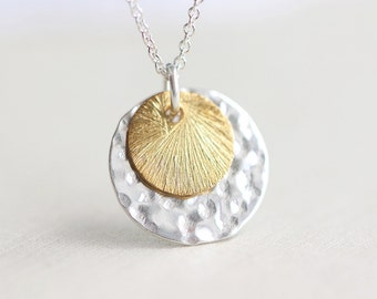 Sun and Moon - simple everyday jewelry gold and sterling silver discs, color block discs
