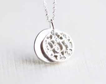 Silver Disc Necklace - simple everyday sterling silver circle disc jewelry by petitor etsy