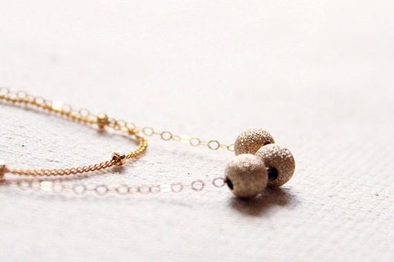 Layered Gold Necklace - double strands 14 karat gold filled beads and chains jewelry by petitor