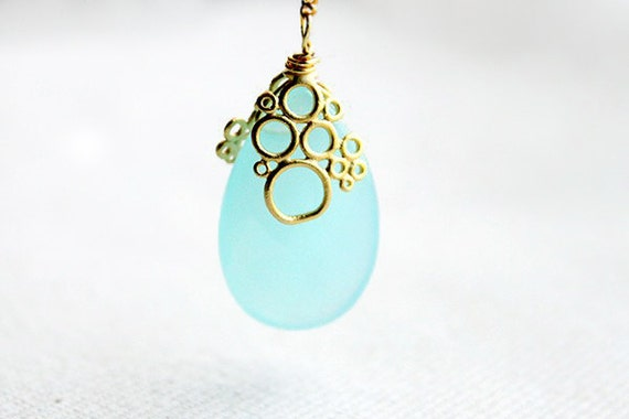 Aqua Lariat Necklace - long bubble jewelry great for bridesmaid by petitor