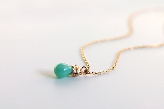 Turquoise Accent Necklace - tiny crystal bead 14 karat gold filled simple everyday jewelry by petitor