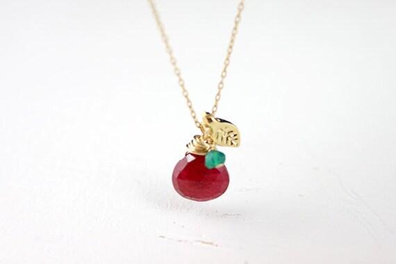 Ruby Gold Necklace - July birthstone on14 karat gold filled