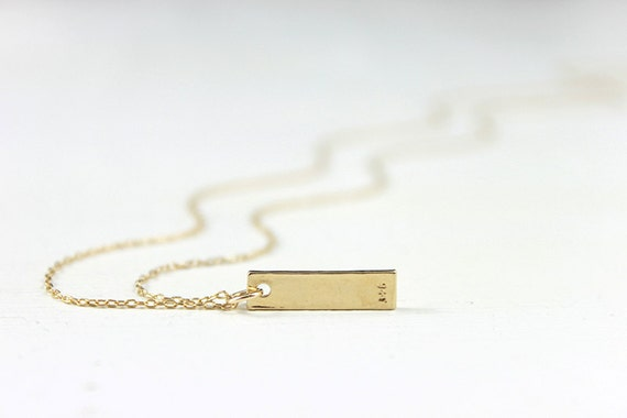 Believe Gold Bar Necklace - minimalist vermeil pendant 14 karat gold fill chain, simple everyday jewelry by petitor