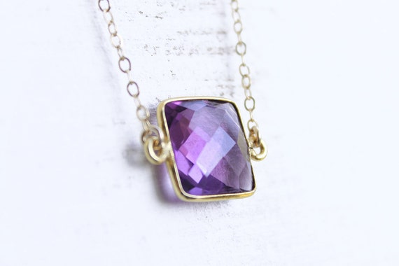 Bezel Set Amethyst Necklace - faceted cushion natural gemstone in vermeil frame and 14k gold filled chain